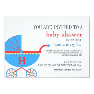 Baby Shower Monogram Carriage Invitation