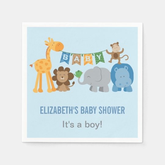 baby shower napkins jungle animals zazzle