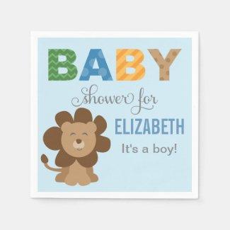 Baby Shower Napkins | Lion Jungle Animal Paper Napkins