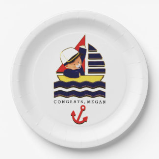 baby shower nautical-themed ideas paper plate