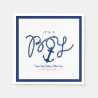 Baby Shower Navy Blue Anchor Boy Nautical Paper Napkin