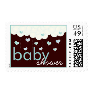 Baby Shower of Hearts Puffy Clouds in Blue for Boy Stamps