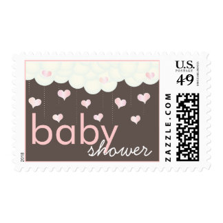 Baby Shower of Hearts Puffy Clouds in Blue for Boy Stamp