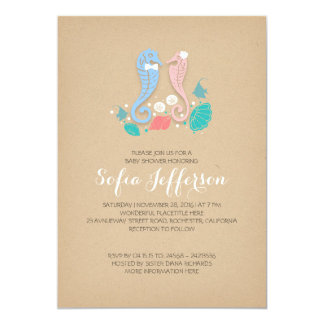 baby shower of twins boy and girl cute seahorses 5x7 paper invitation card