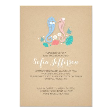 Beach Themed baby shower of twins boy and girl cute seahorses card