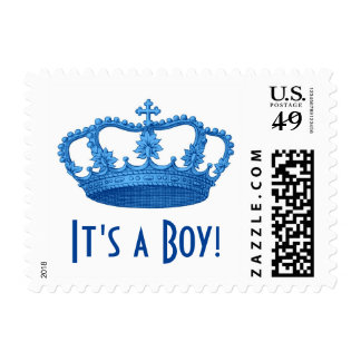 Baby Shower or Announcement It's a Boy Blue Crown Stamps