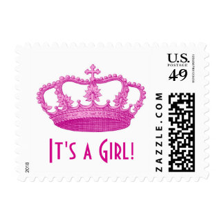 Baby Shower or Announcement It's a Girl Pink Crown Postage Stamp