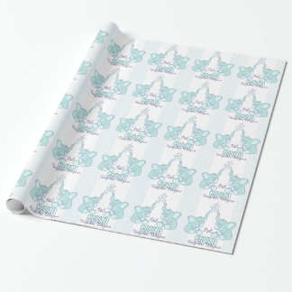 Baby Shower or birth grandson name aqua blue wrap Wrapping Paper