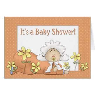 Baby Shower Orange Greeting Cards
