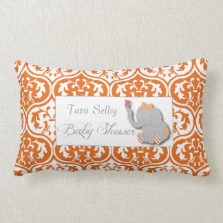 Baby Shower Orange & Grey Elephant Lumbar Pillow