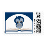 Baby Shower Owl Bring a Book Postage | Navy Blue