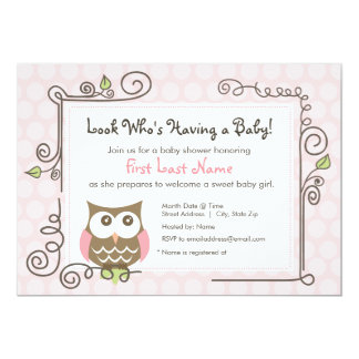 "Baby Shower Owl Invite 5"" X 7"" Invitation Card"