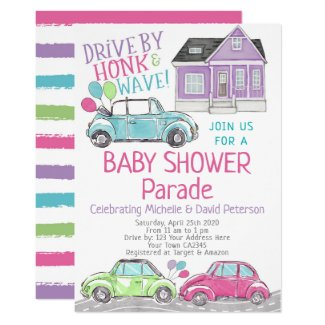 Drive by Baby Shower Invitations Purple Parade