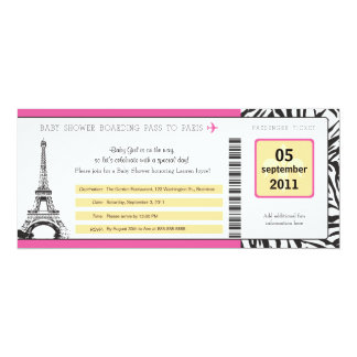 Baby Shower Paris Boarding Pass 4x9.25 Paper Invitation Card