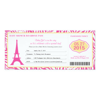 Baby Shower Paris Boarding Pass Personalized Invite