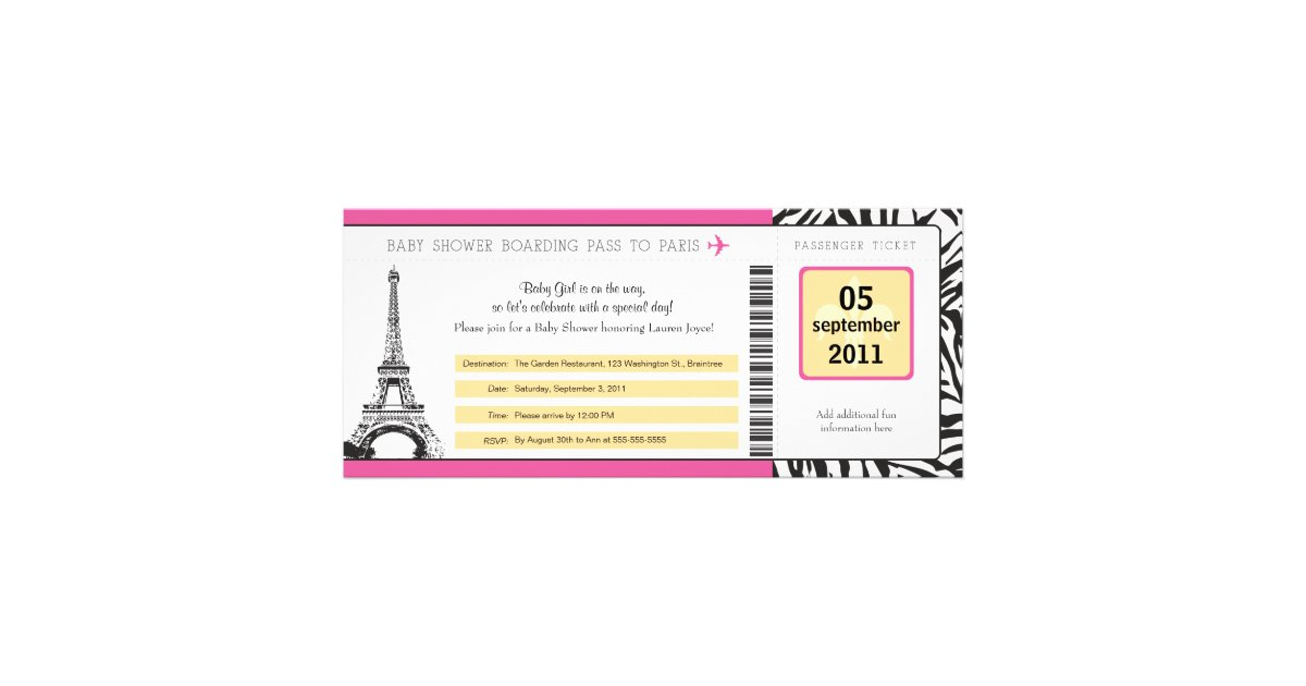 Baby shower paris boarding pass personalized invitation filmwisefo