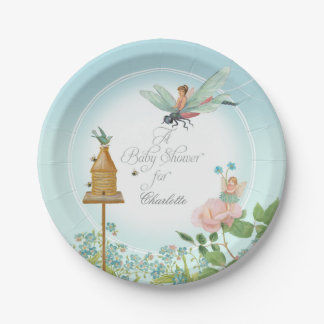 Baby Shower Party Decor Girl Fairy Garden Bees Art Paper Plate