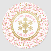 Baby Shower Party Favor Sticker- Gold Snowflake Classic Round Sticker
