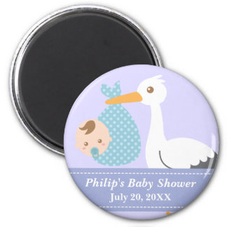 Baby Shower Party Favor - Stork Delivers Baby Boy 2 Inch Round Magnet