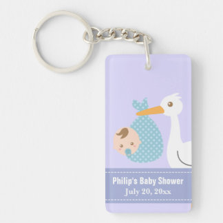 Baby Shower Party Favor - Stork Delivers Baby Boy Acrylic Key Chain