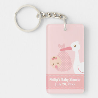 Baby Shower Party Favor - Stork Delivers Baby Girl Keychain