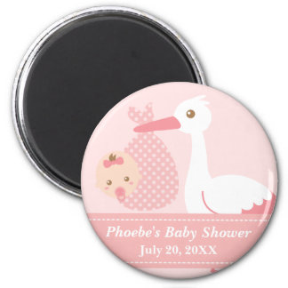 Baby Shower Party Favor - Stork Delivers Baby Girl 2 Inch Round Magnet