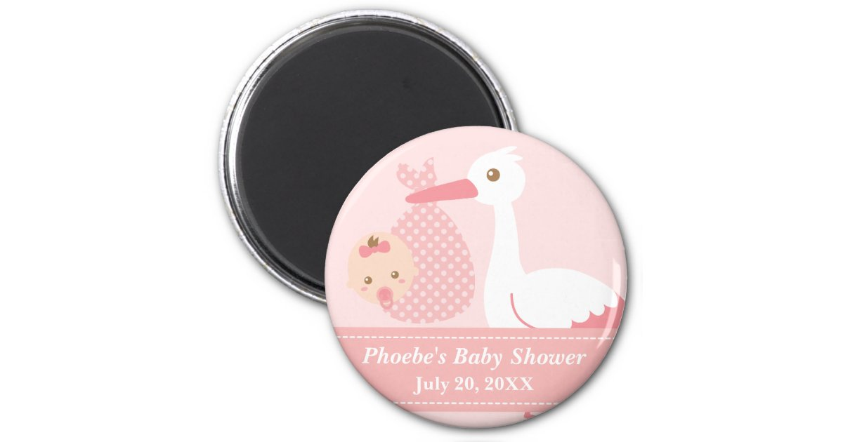 Baby Shower Party Favor Stork Delivers Baby Girl Magnet Zazzlecom