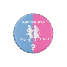 Baby Shower Party Gender Revealed By Candy in Tin Candy Tins at Zazzle
