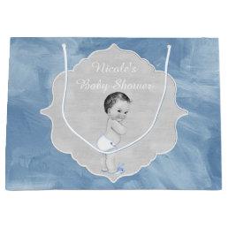 Baby Shower Pastel Blue Vintage Little Boy Large Gift Bag