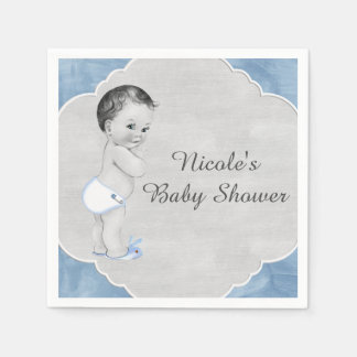 Baby Shower Pastel Blue Vintage Little Boy Napkin