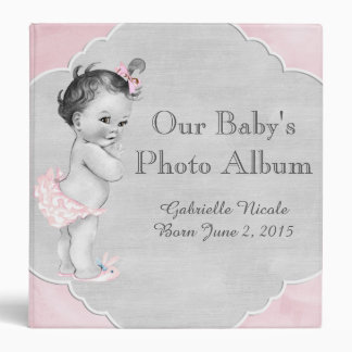 Baby Shower Pastel Pink Vintage Little Girl 3 Ring Binder