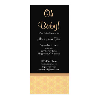 Baby Shower Peach and Tan Star Flower Pattern Card