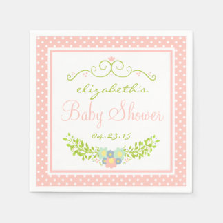 Baby Shower Peach Floral Paper Napkin
