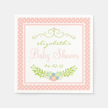 Toddler & Baby themed Baby Shower Peach Floral Paper Napkin
