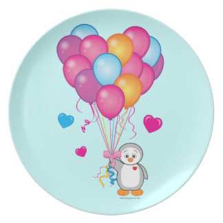Baby Shower: Penguin with Balloons Blue Party Plate