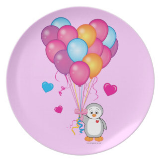 Baby Shower: Penguin with Balloons Blue Plate