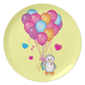 Baby Shower: Penguin with Balloons Yellow Party Plate