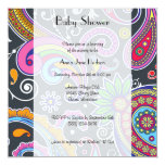 Baby Shower - Persian Paisley - Green Pink Blue 5.25x5.25 Square Paper Invitation Card