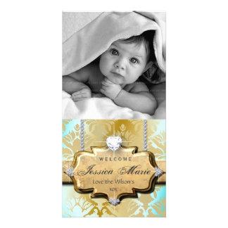 Baby Shower Photo Card Vintage Heart Damask