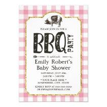 Baby Shower Pig Roast BBQ Pink Plaid Invitation