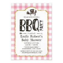 Baby Shower Pig Roast BBQ Pink Plaid Invitation