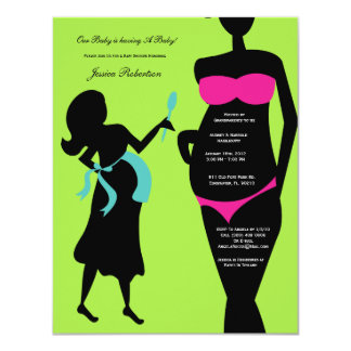 """Baby Shower, Pink and Blue Baby Bump, Tummy Writti 4.25"""" X 5.5"""" Invitation Card"""