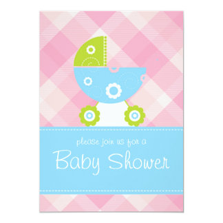 Baby shower pink and blue invitation card