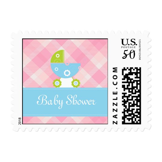 Baby shower pink and blue invitation postage