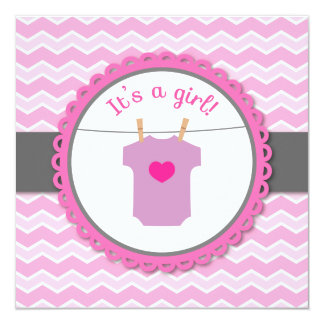 Baby Shower - Pink and White Chevron, Jumpsuit Card