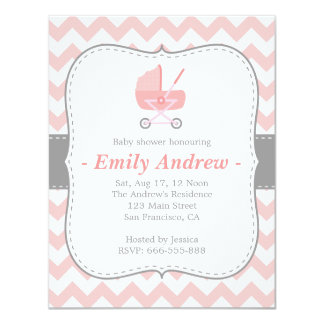 Baby Shower - Pink and White Chevron with Stroller Card