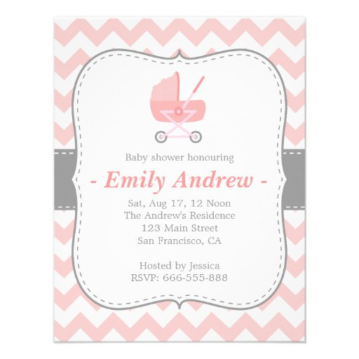 Baby Shower - Pink and White Chevron with Stroller Personalized Invitations