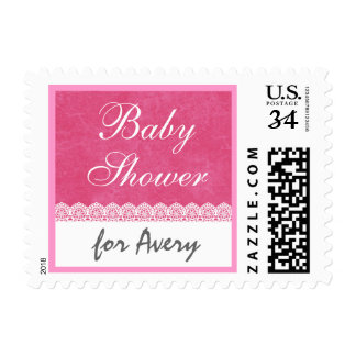 Baby Shower Pink and White Lace Custom Name V04 Postage