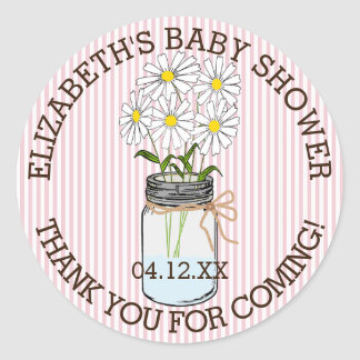 Baby Shower Pink and White Stripes Mason Jar Classic Round Sticker