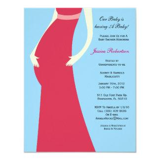 "Baby Shower, Pink Baby Bump, 4.25"" X 5.5"" Invitation Card"